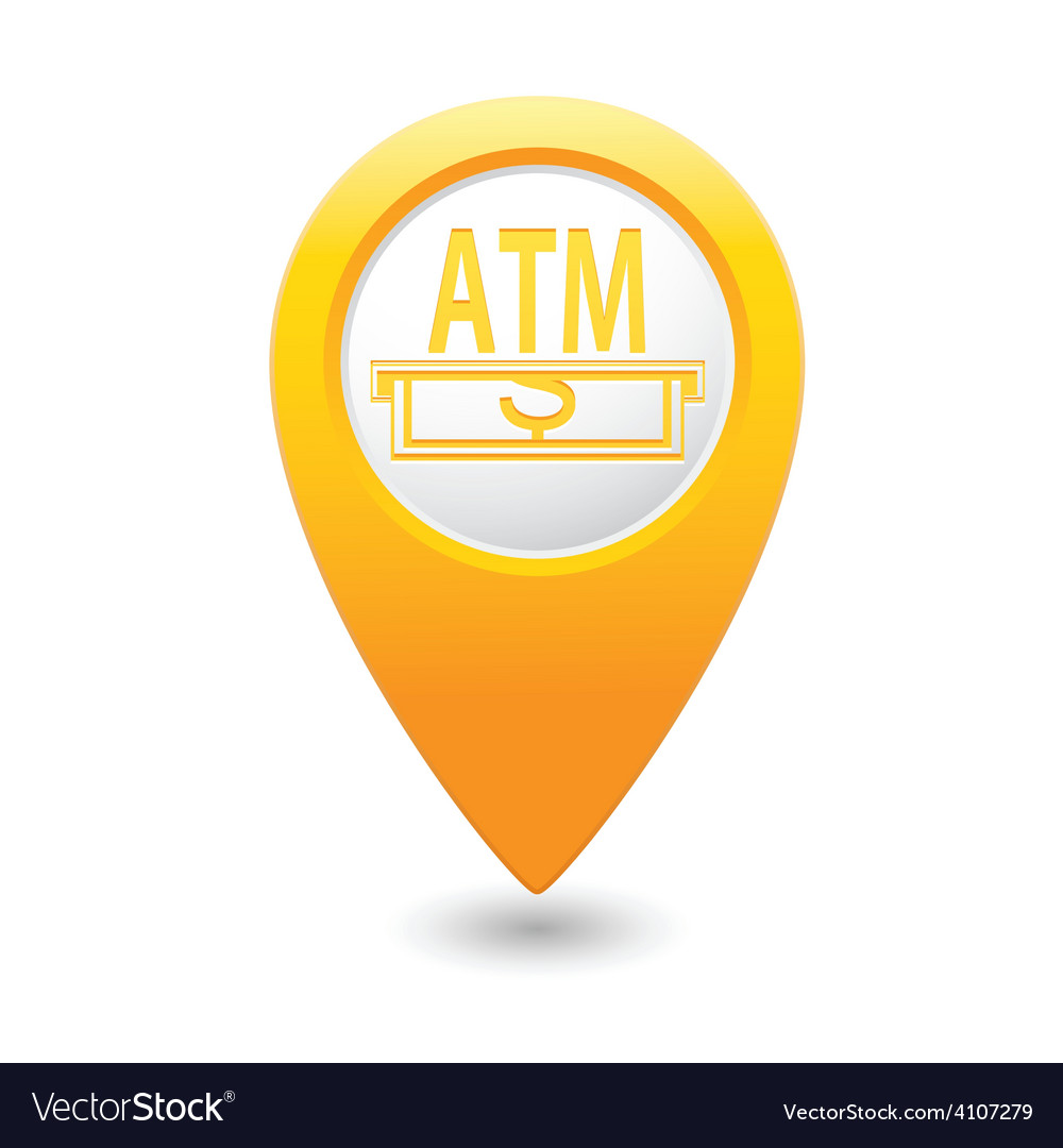 Atm map pointer yellow vector | Price: 1 Credit (USD $1)
