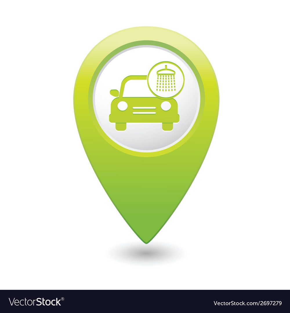 Car wash icon map pointer green vector | Price: 1 Credit (USD $1)