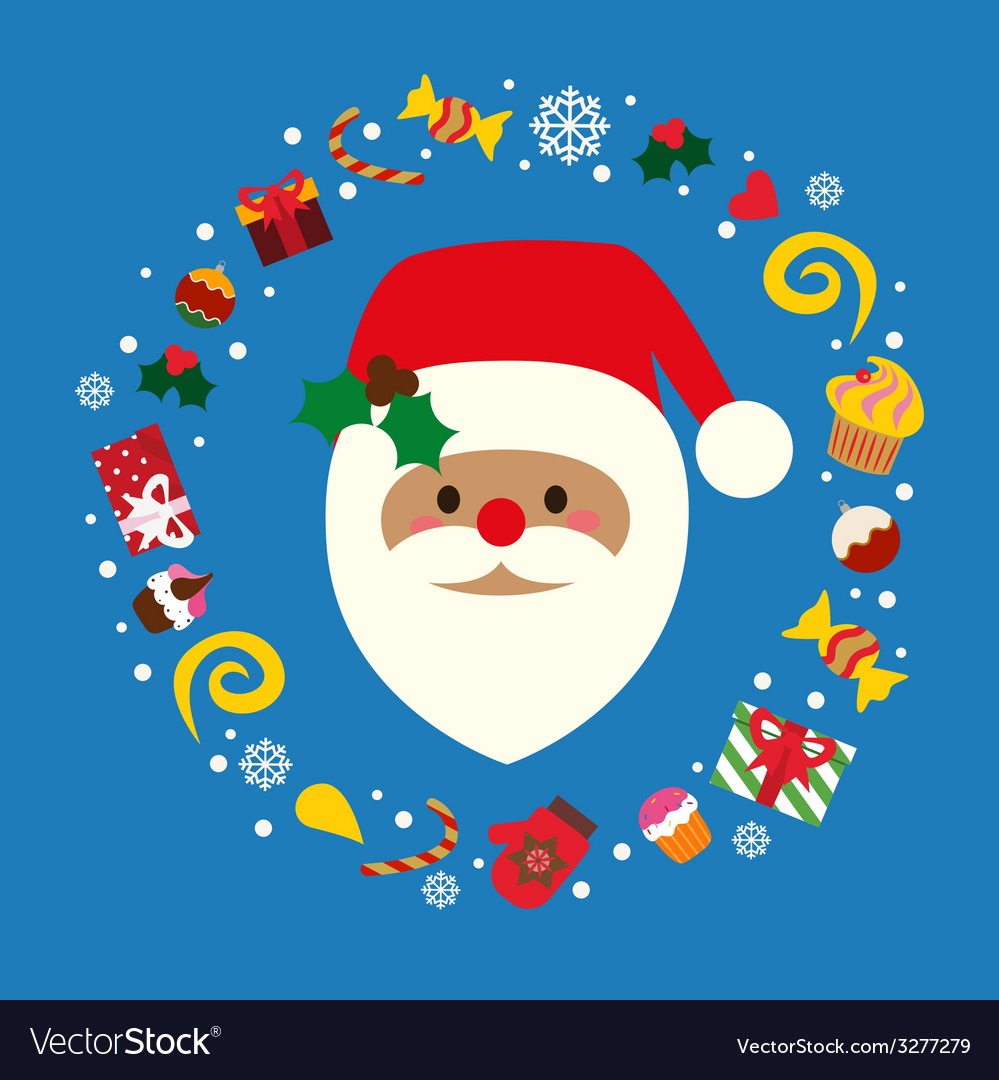 Christmas holiday print with santa vector | Price: 1 Credit (USD $1)