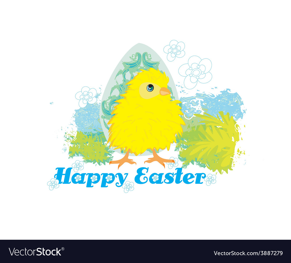 Cute easter chick cartoon characterhappy easter vector
