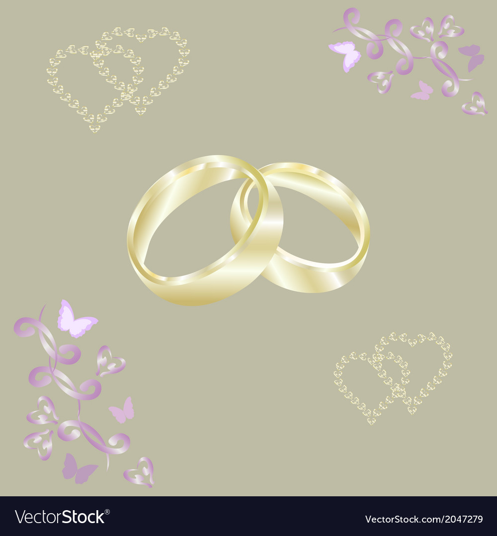 Engagement rings gold hearts vector | Price: 1 Credit (USD $1)