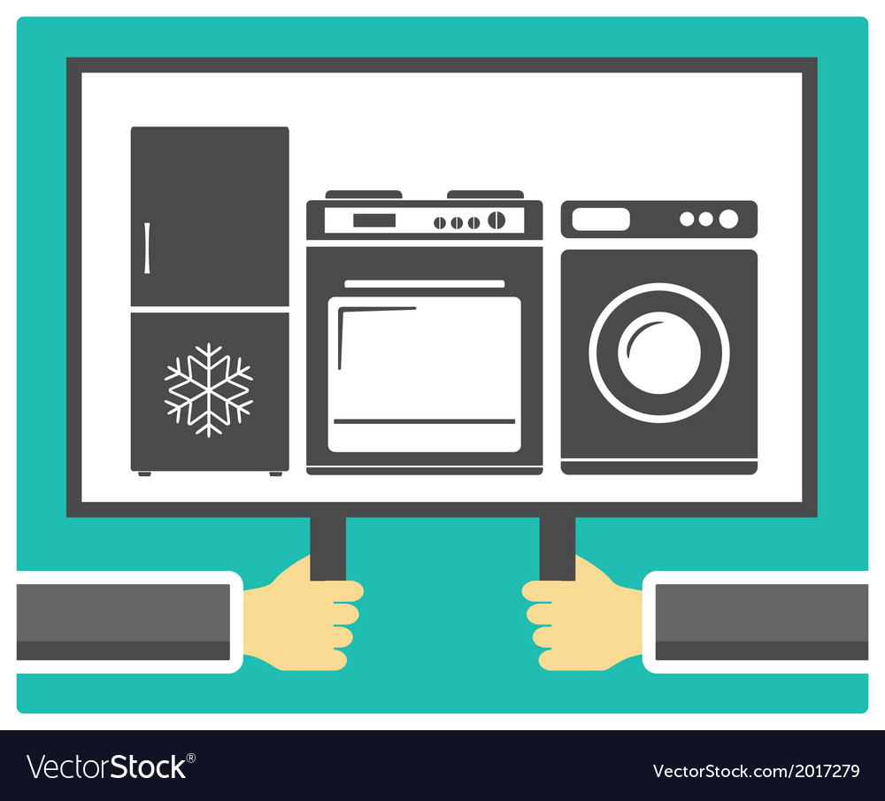 Hands poster and home appliances vector | Price: 1 Credit (USD $1)