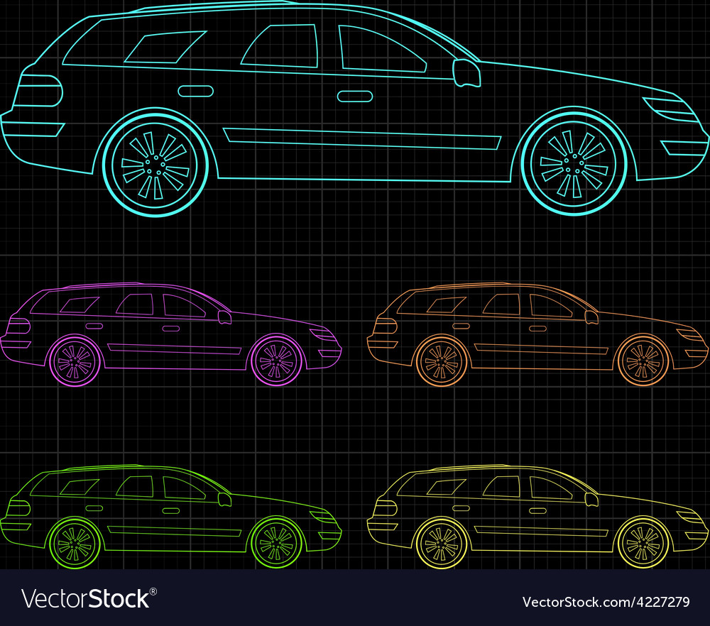 Line drawing of car vector | Price: 1 Credit (USD $1)