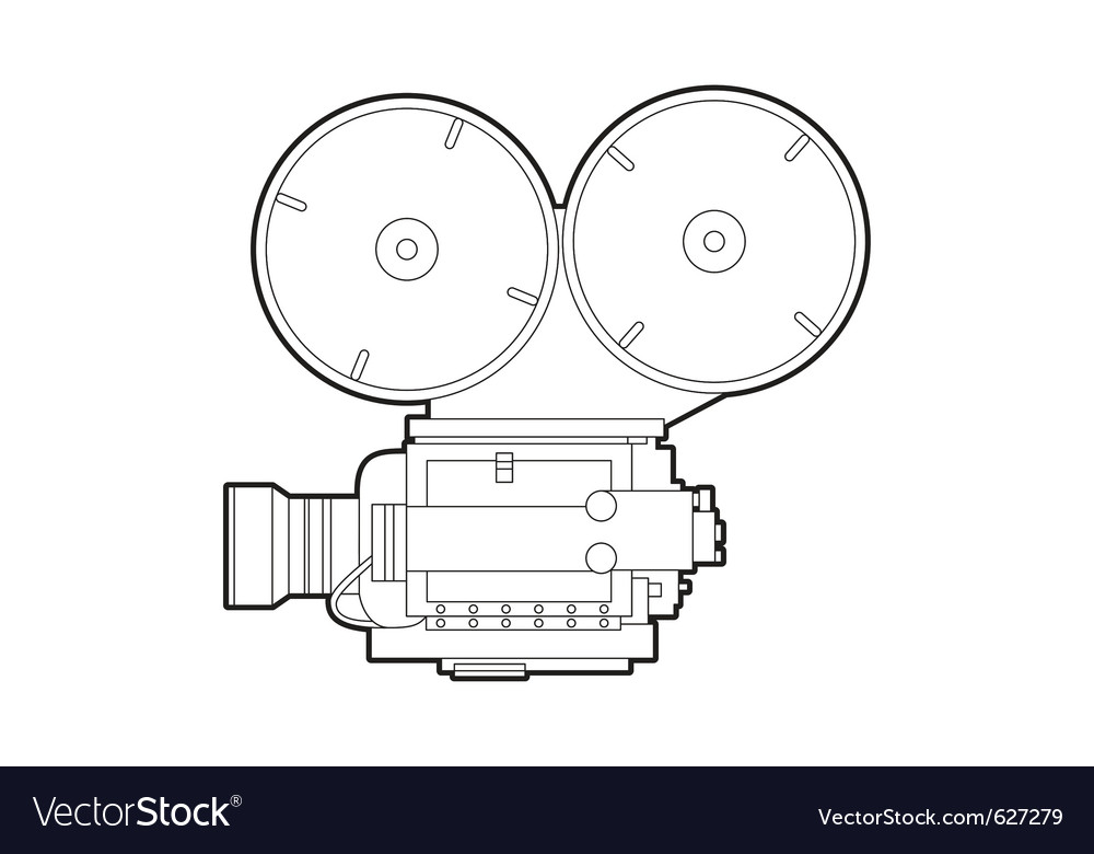 Old movie camera vector | Price: 1 Credit (USD $1)