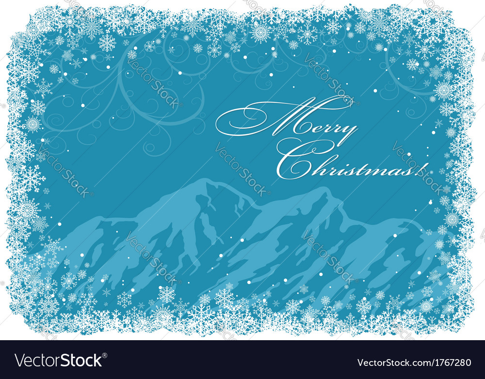 Blue christmas background with mountains vector | Price: 1 Credit (USD $1)