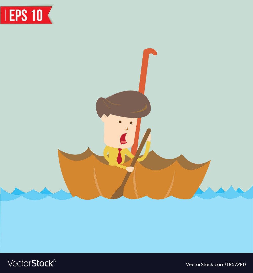 Cartoon business man rowing a boat in his umbrella vector | Price: 1 Credit (USD $1)
