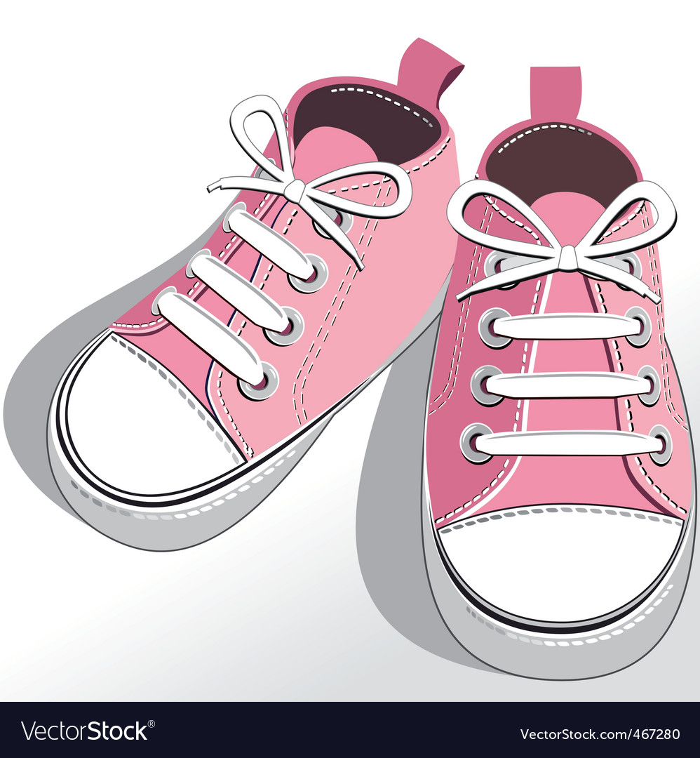 Children pink shoes vector | Price: 1 Credit (USD $1)