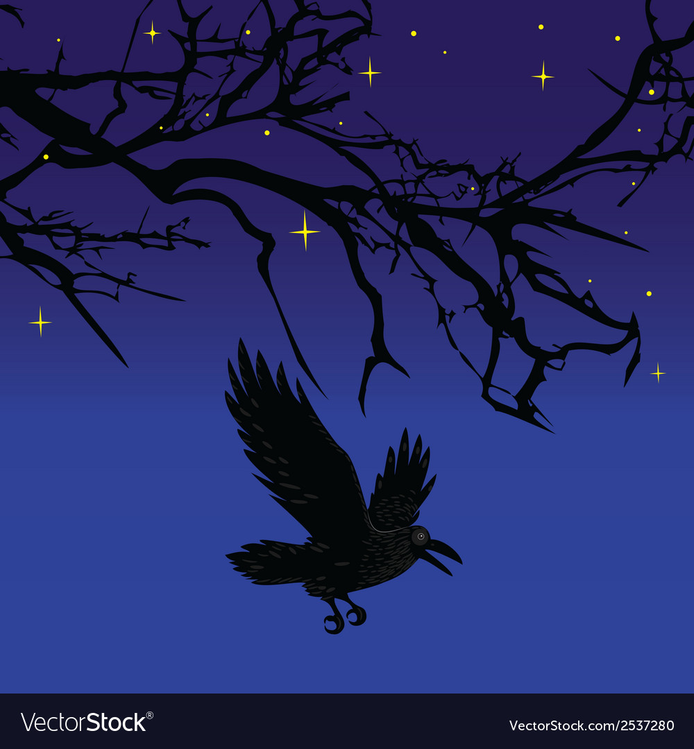 Dark crow bird flying over scary halloween night t vector | Price: 1 Credit (USD $1)