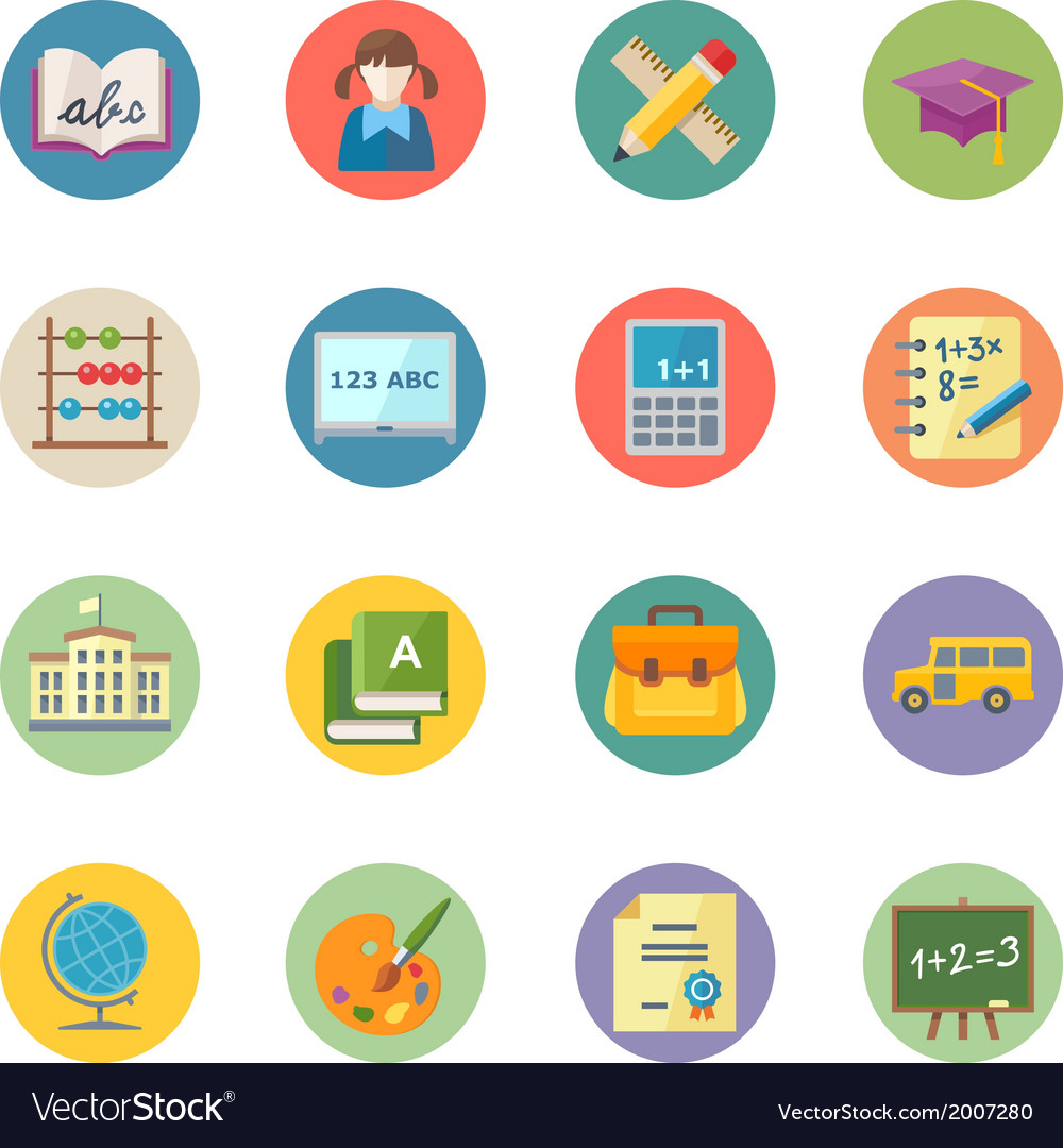 Flat education icons set 1 - dot series vector | Price: 1 Credit (USD $1)