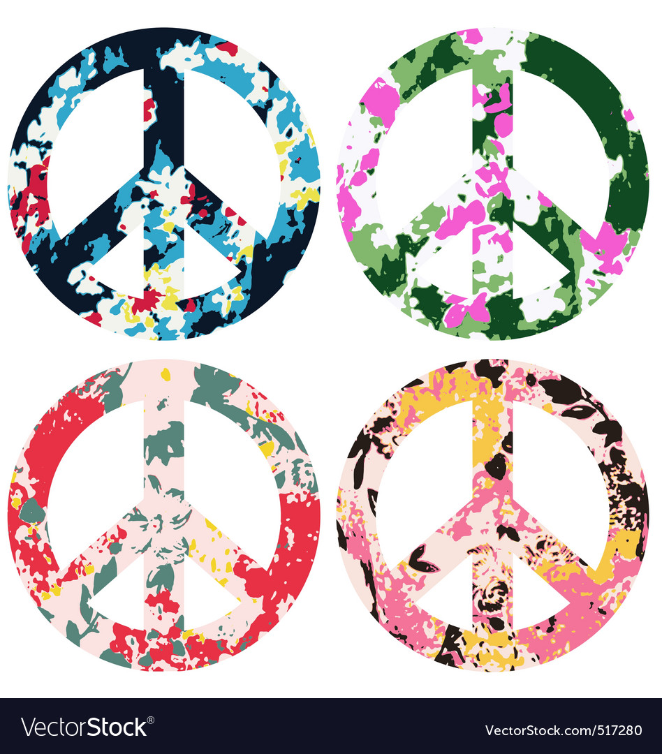Floral peace set vector | Price: 1 Credit (USD $1)
