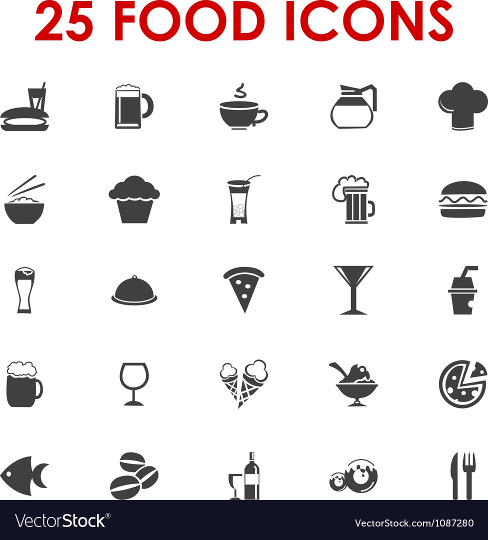 Food icons basics series vector   Price: 1 Credit (USD $1)
