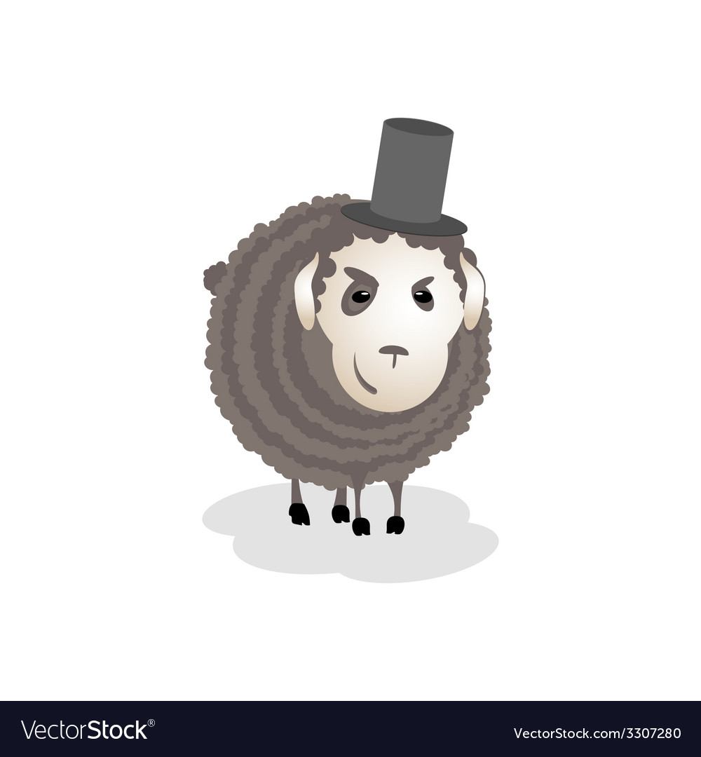 Gloomy evil cunning sheep in the hat vector | Price: 1 Credit (USD $1)
