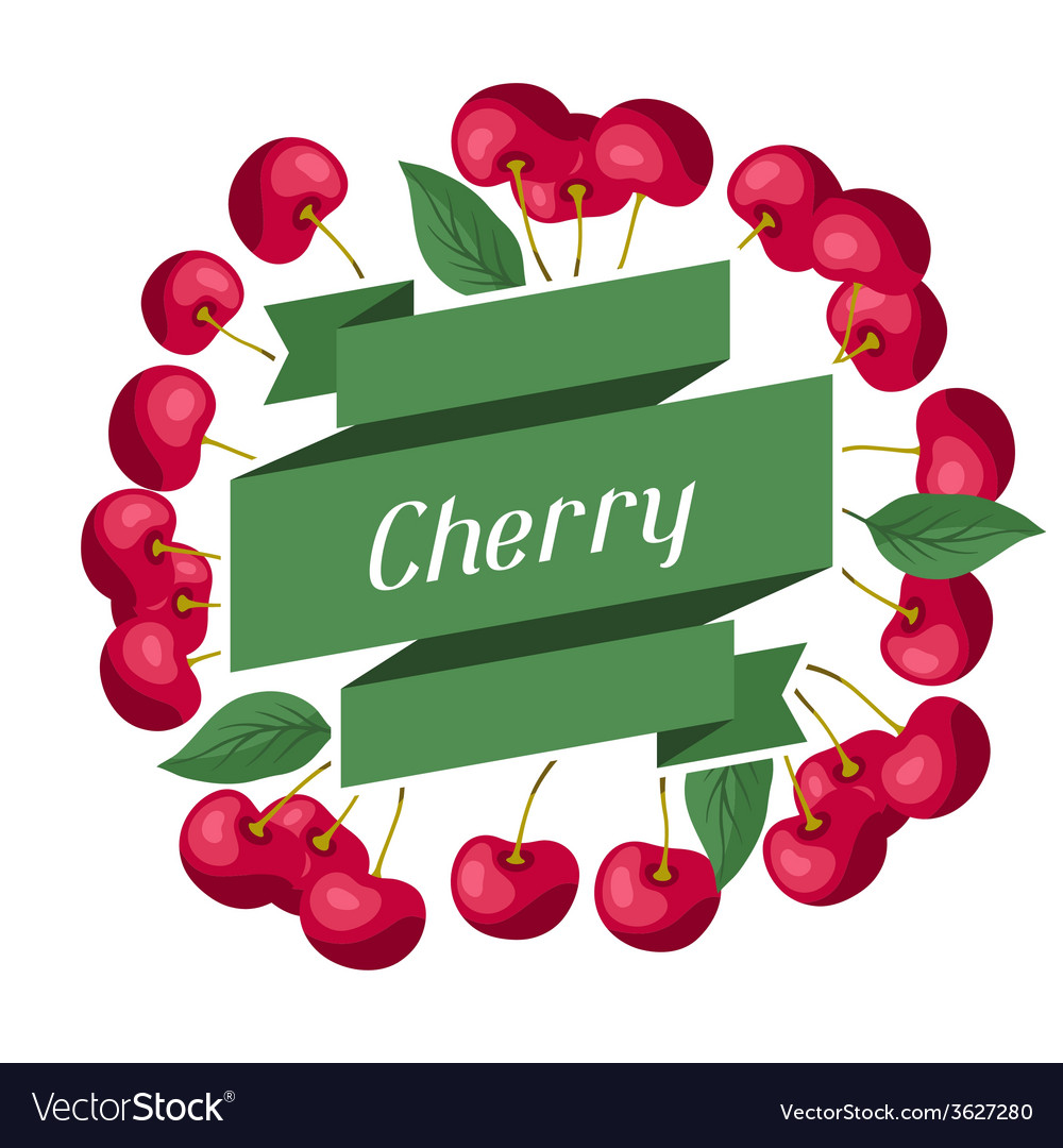 Nature background design with cherries vector | Price: 1 Credit (USD $1)