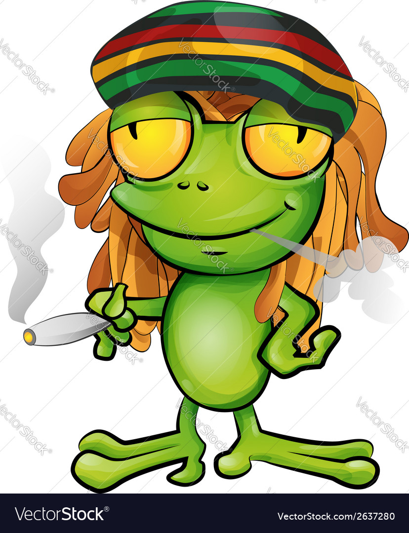 Rastafarian frog cartoon vector