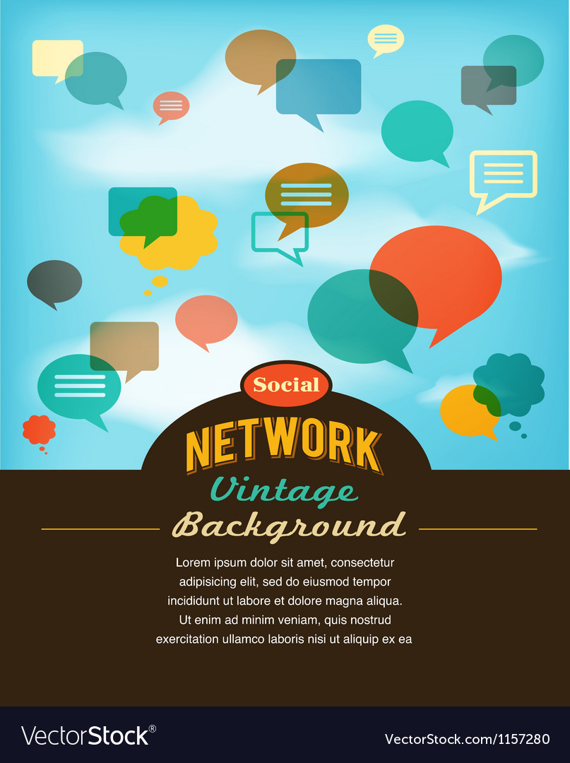 Social network media and communication in vintage vector | Price: 1 Credit (USD $1)