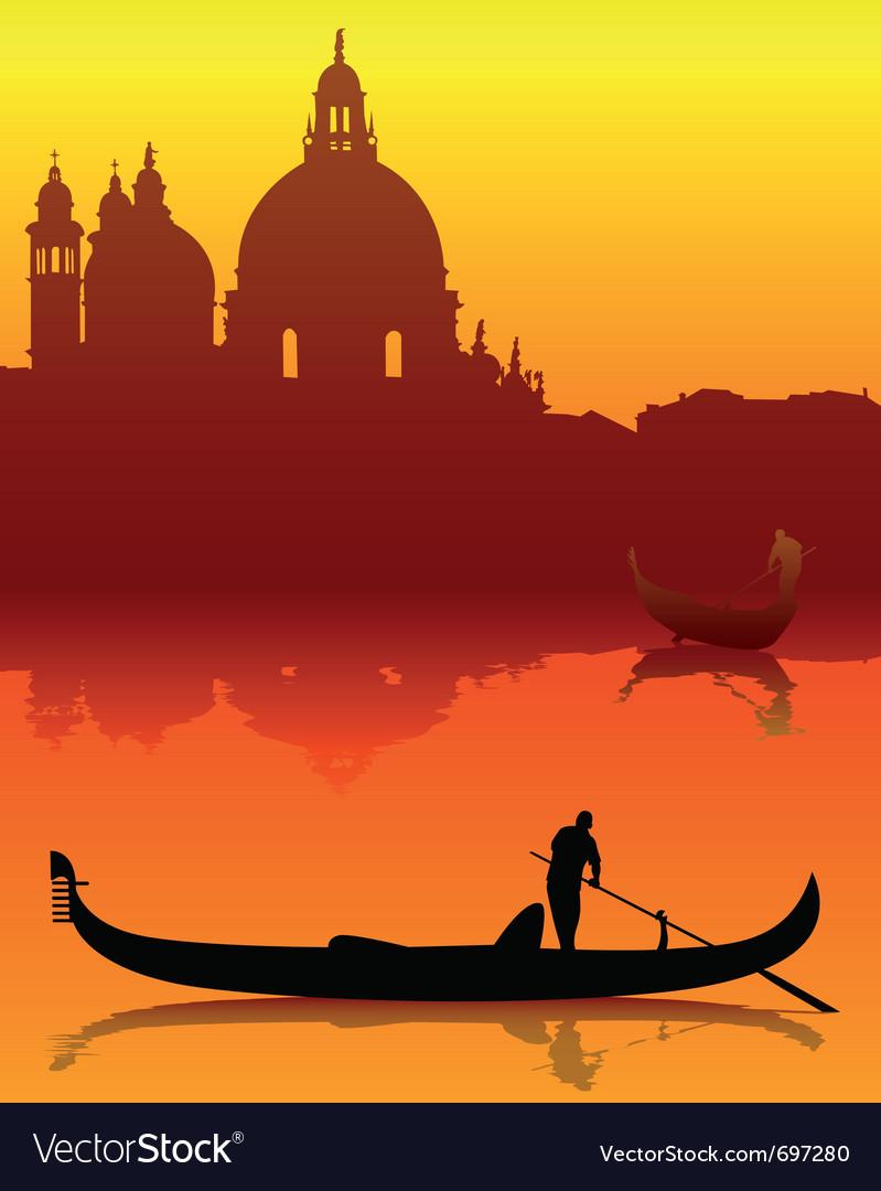 Venetian gondola silhouette vector | Price: 1 Credit (USD $1)