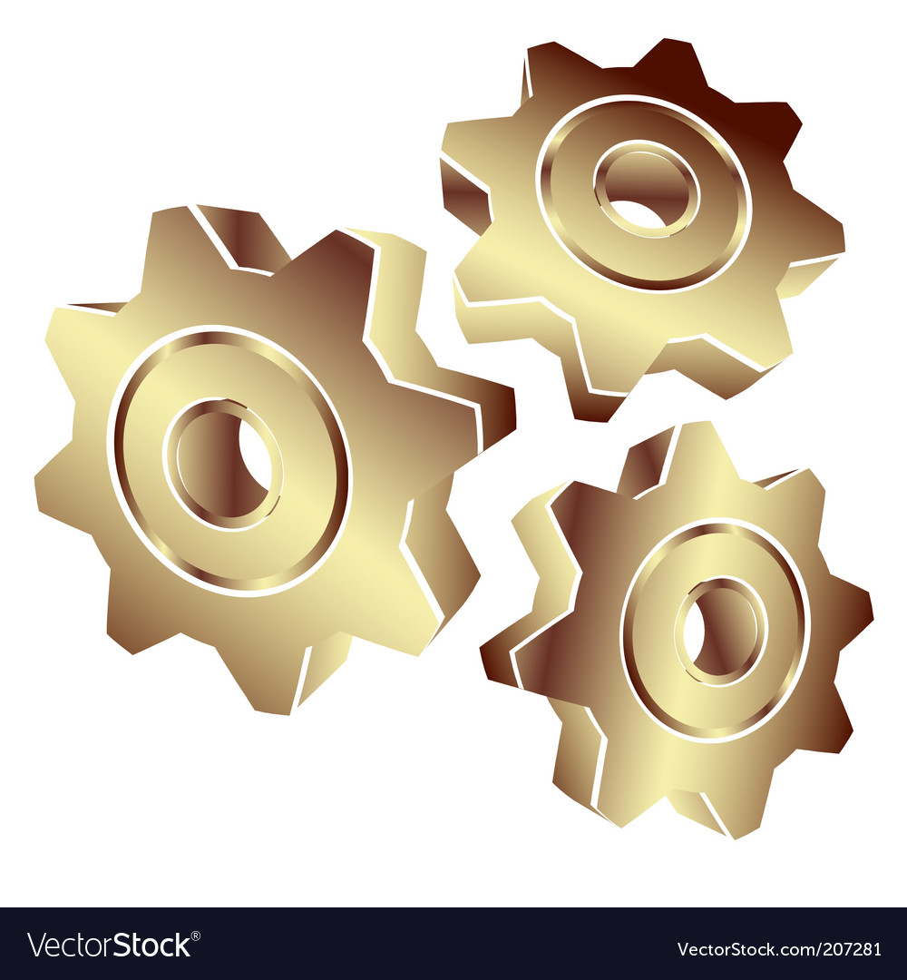 3d gears in gold vector | Price: 1 Credit (USD $1)