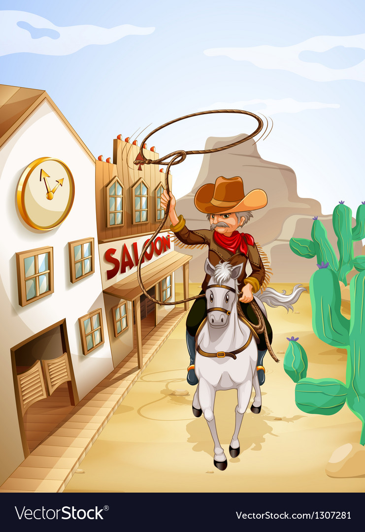 A man with a rope riding in a horse vector | Price: 1 Credit (USD $1)