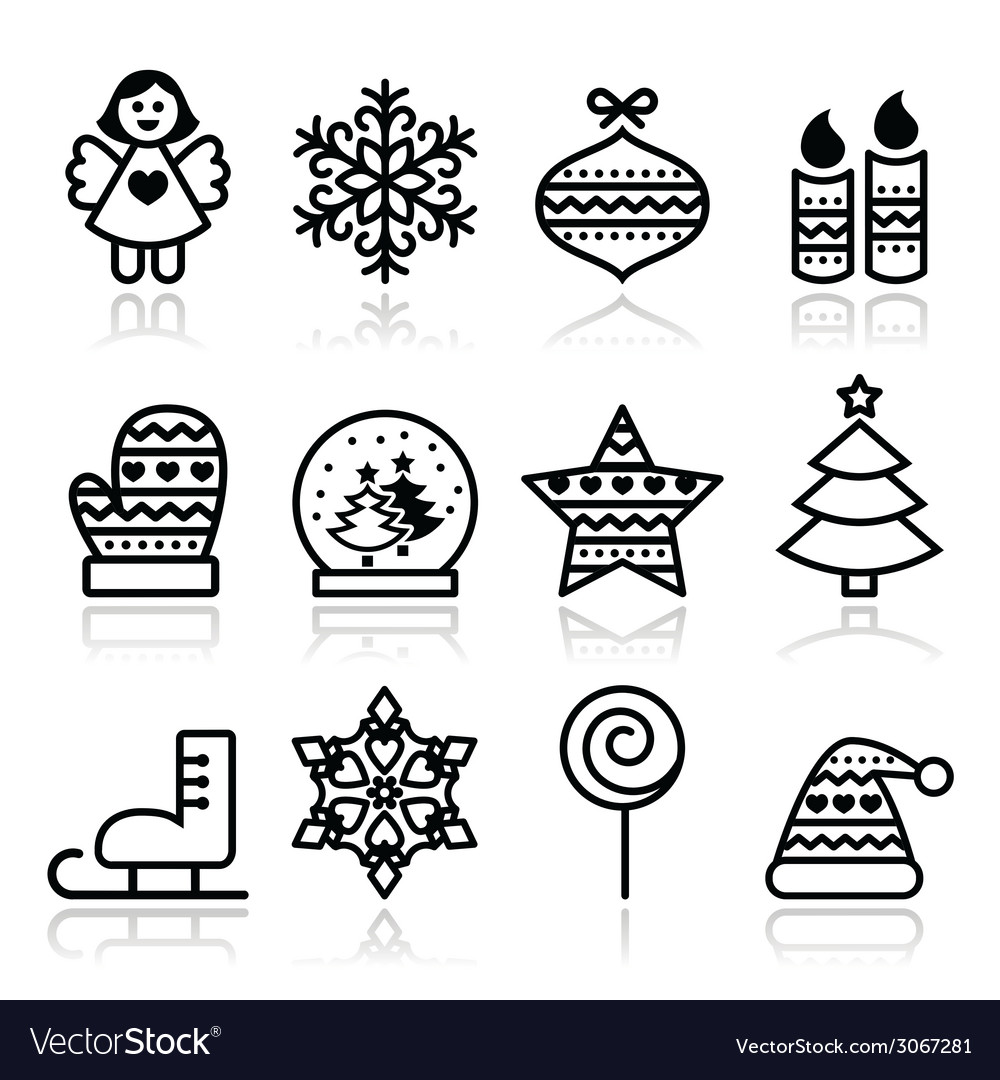Christmas icons with stroke - xmas tree angel vector | Price: 1 Credit (USD $1)
