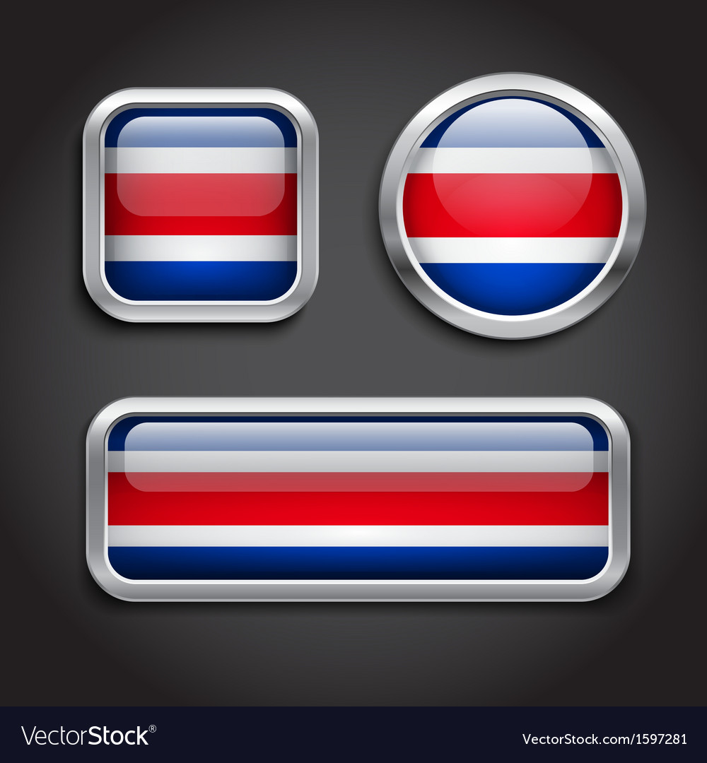 Costa rica flag glass buttons vector | Price: 1 Credit (USD $1)