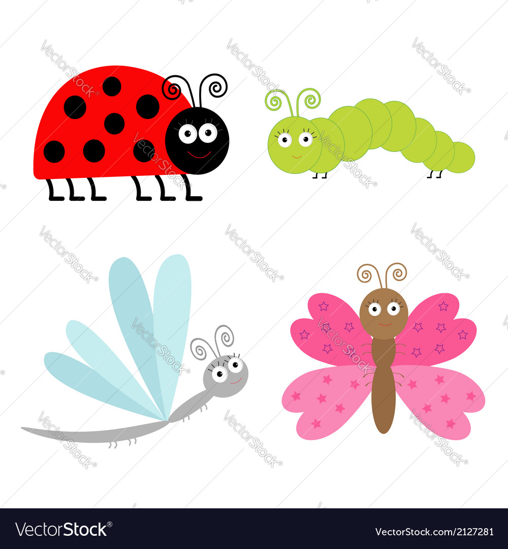 Cute cartoon insect set ladybug butterfl vector | Price: 1 Credit (USD $1)