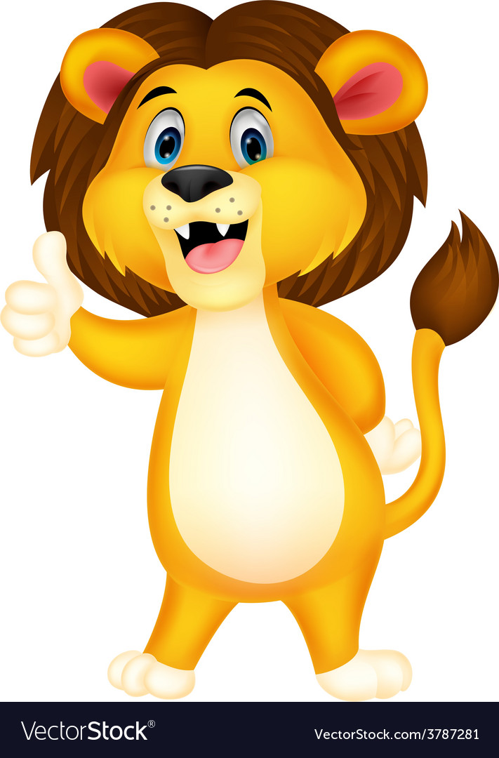Cute lion cartoon giving thumb up vector | Price: 1 Credit (USD $1)