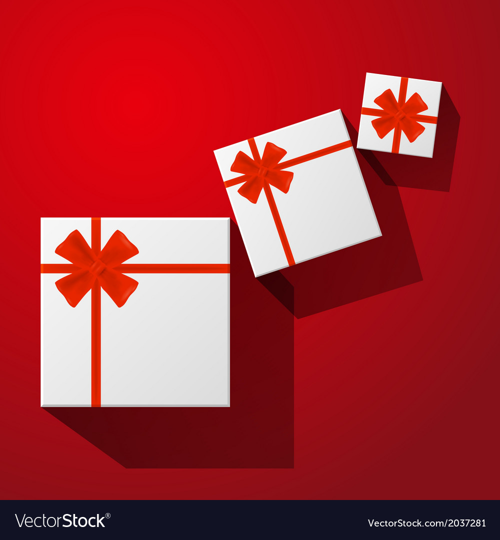 Gift with red bow with ribbons vector | Price: 1 Credit (USD $1)