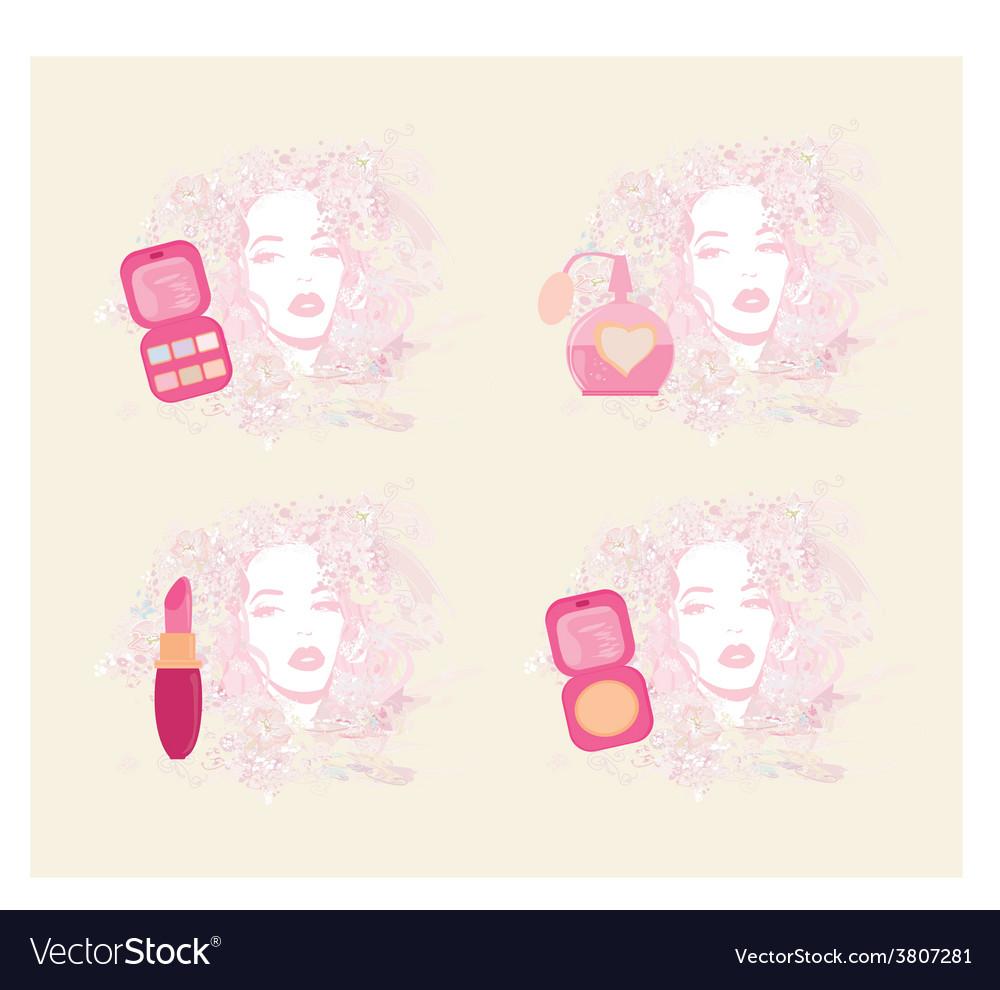 Make-up girl - poster set vector | Price: 1 Credit (USD $1)