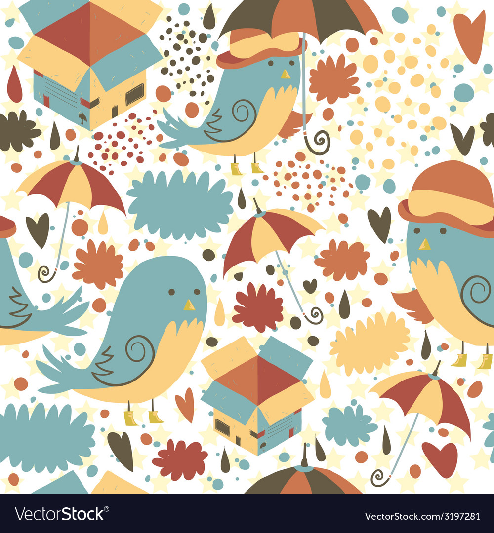 Mr sparrow with umbrella and box seamless pattern vector | Price: 1 Credit (USD $1)