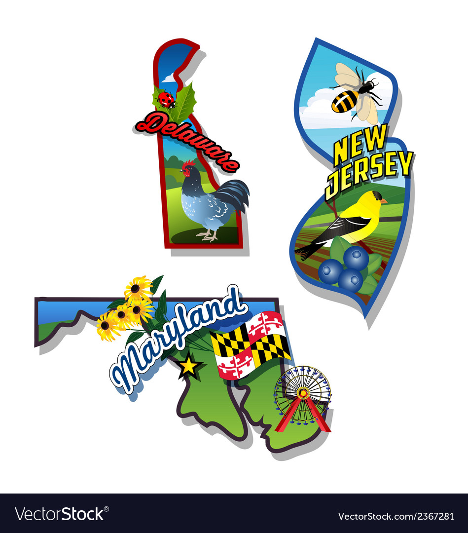 New jersey delaware maryland retro state facts vector | Price: 3 Credit (USD $3)
