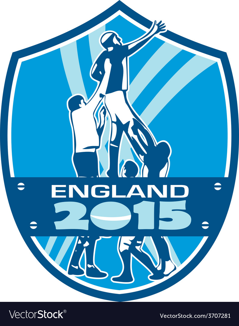 Rugby lineout england 2015 shield vector | Price: 1 Credit (USD $1)
