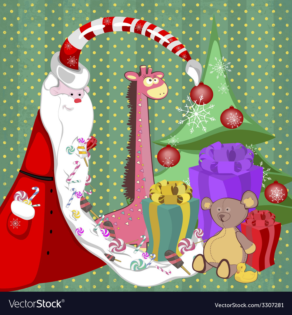 Santa claus with sweets in a long beard tree with vector   Price: 1 Credit (USD $1)