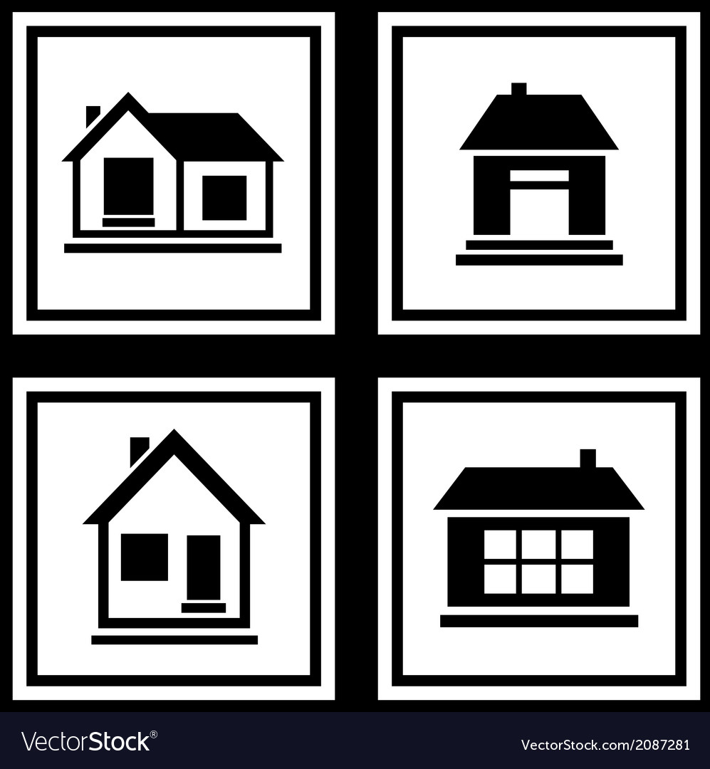 Set house on white backgrounds icon vector   Price: 1 Credit (USD $1)