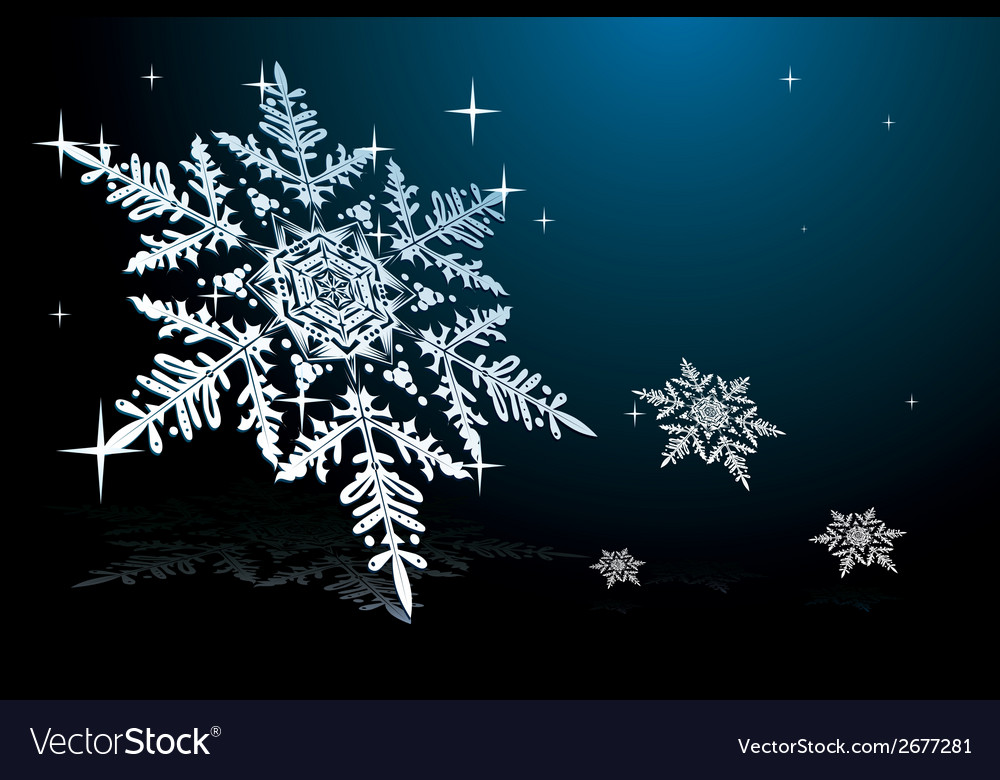 Snowflake on blue vector | Price: 1 Credit (USD $1)
