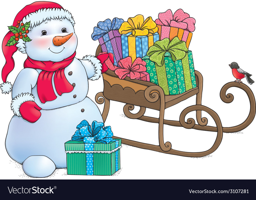 Snowman and sleigh with gifts vector | Price: 1 Credit (USD $1)