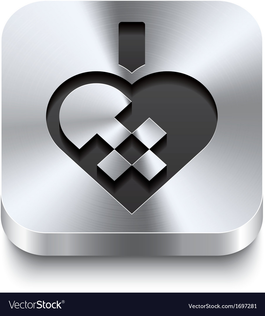 Square metal button - braided christmas heart vector | Price: 1 Credit (USD $1)