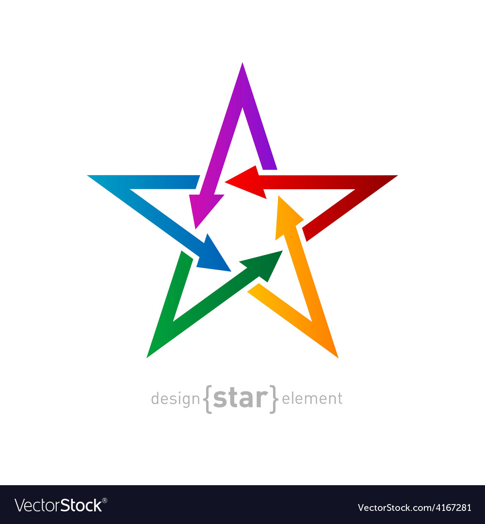Star with arrows on white background abstract vector   Price: 1 Credit (USD $1)