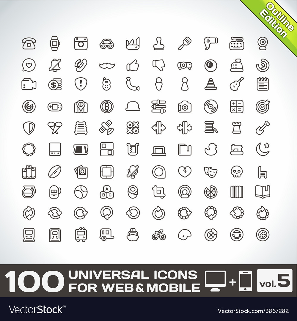 100 universal icons for web and mobile volume 5 vector | Price: 1 Credit (USD $1)