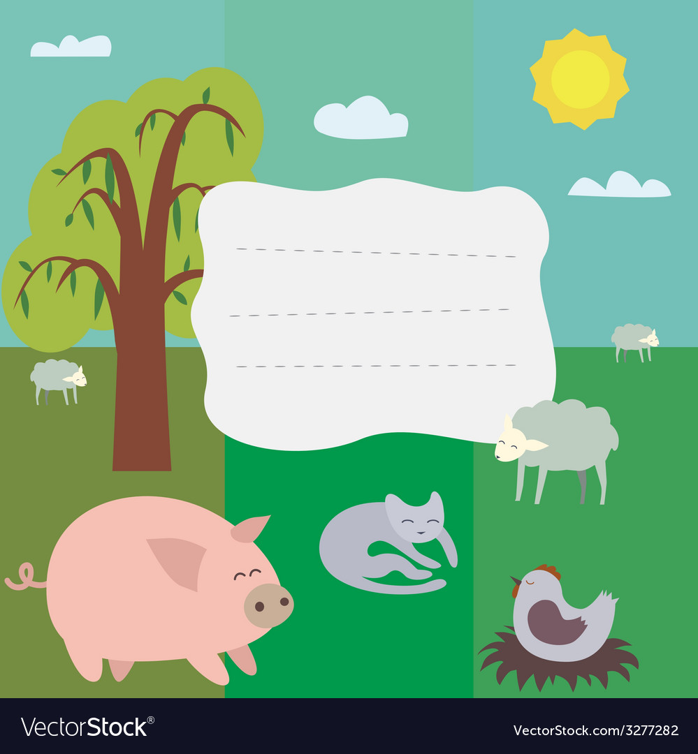Card with farm theme vector | Price: 1 Credit (USD $1)