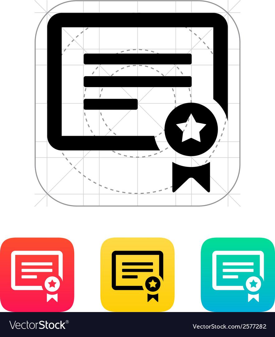 Certificate icon vector | Price: 1 Credit (USD $1)