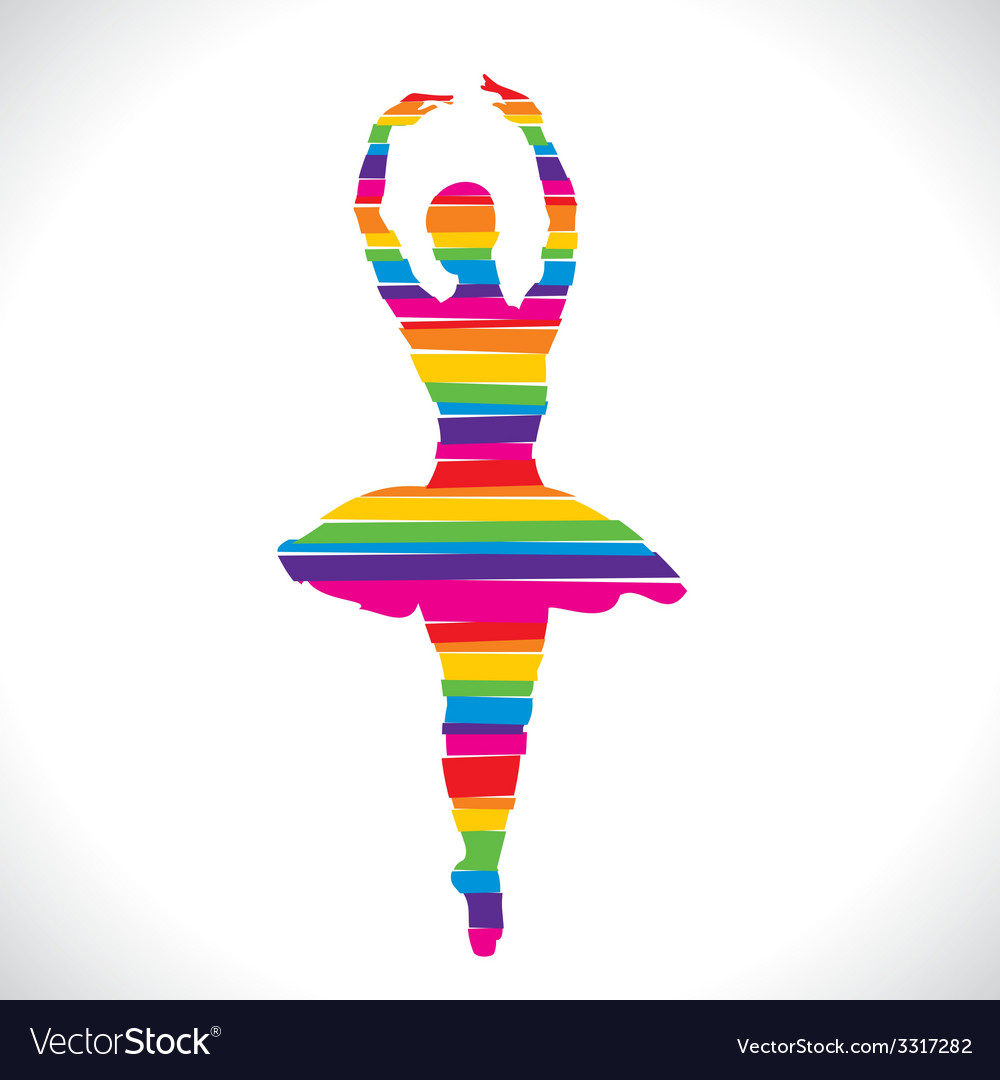 Color dancing girl design with strip vector   Price: 1 Credit (USD $1)