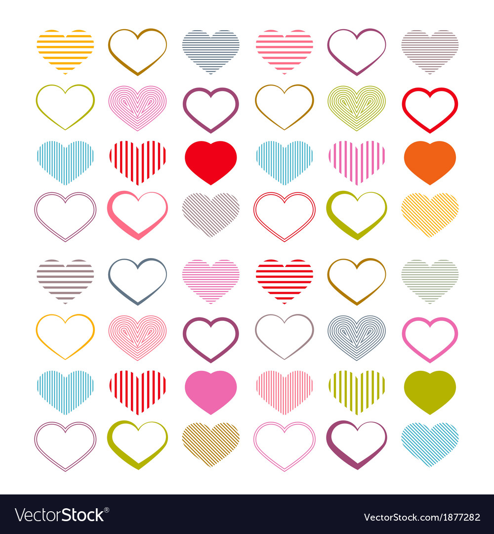 Colorful heart set red valentine symbols vector | Price: 1 Credit (USD $1)