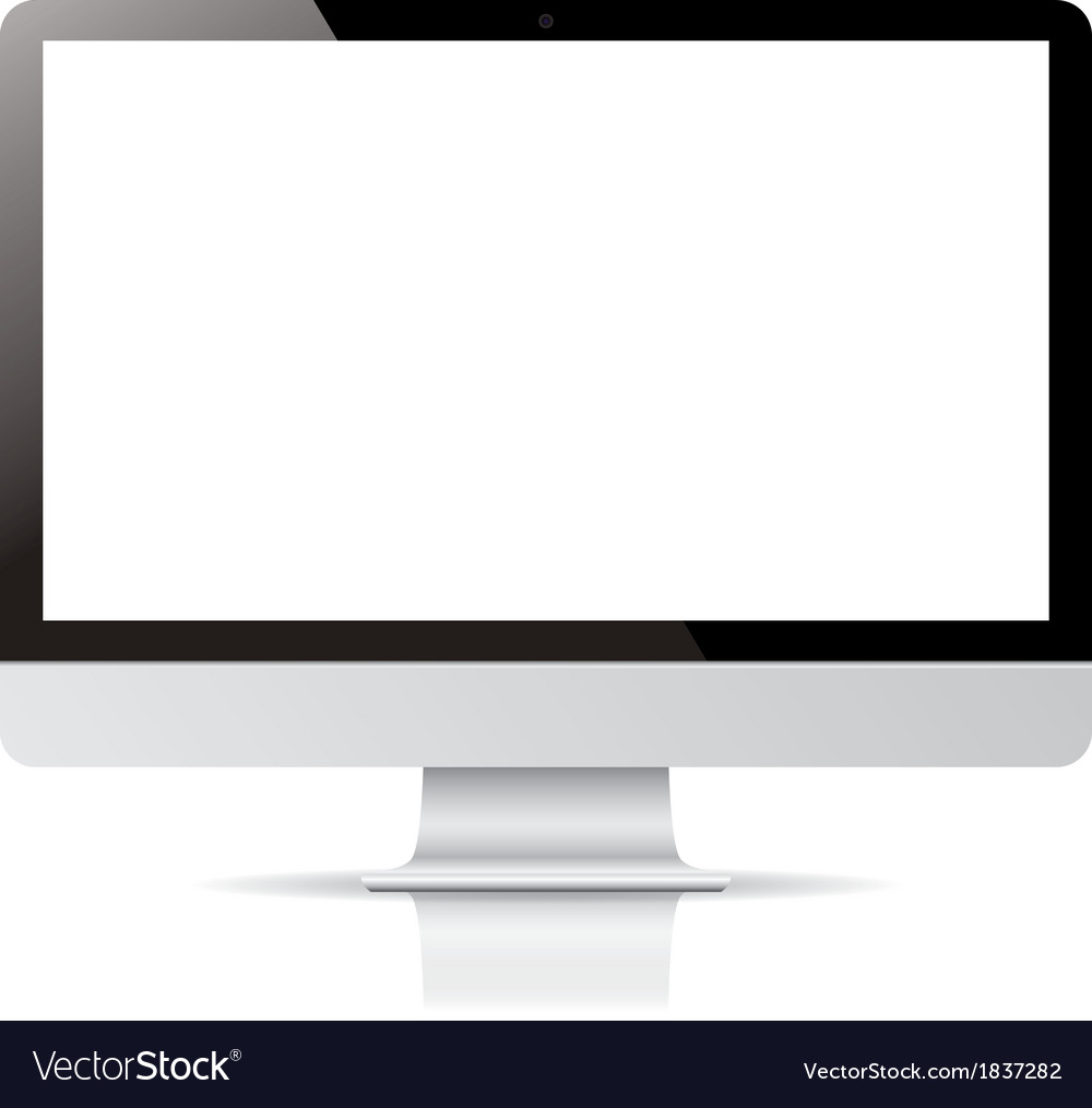 Computer display isolated on white background vector | Price: 1 Credit (USD $1)