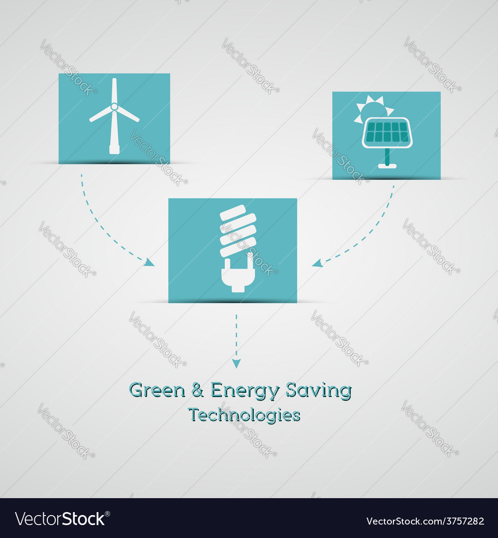 Green and energy saving technologies poster vector   Price: 1 Credit (USD $1)