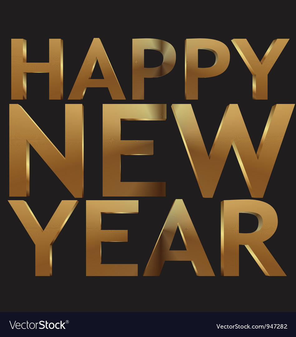 Happy new year 3d golden text vector | Price: 1 Credit (USD $1)