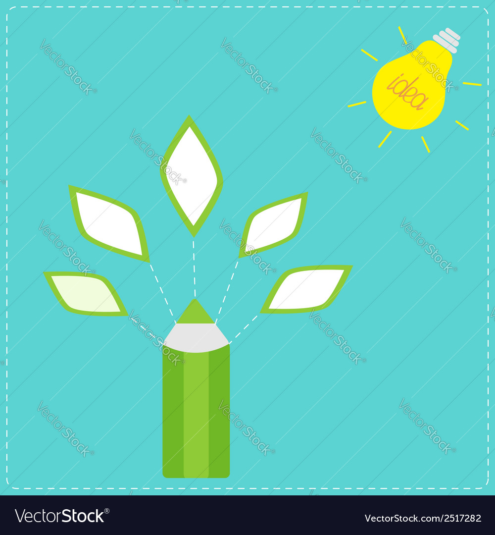 Pencil with leaf icons and light bulb sun idea con vector | Price: 1 Credit (USD $1)
