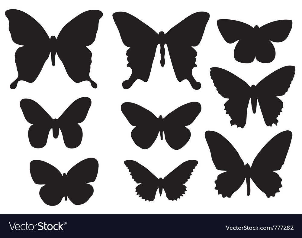 Silhouettes of butterflies vector | Price: 1 Credit (USD $1)