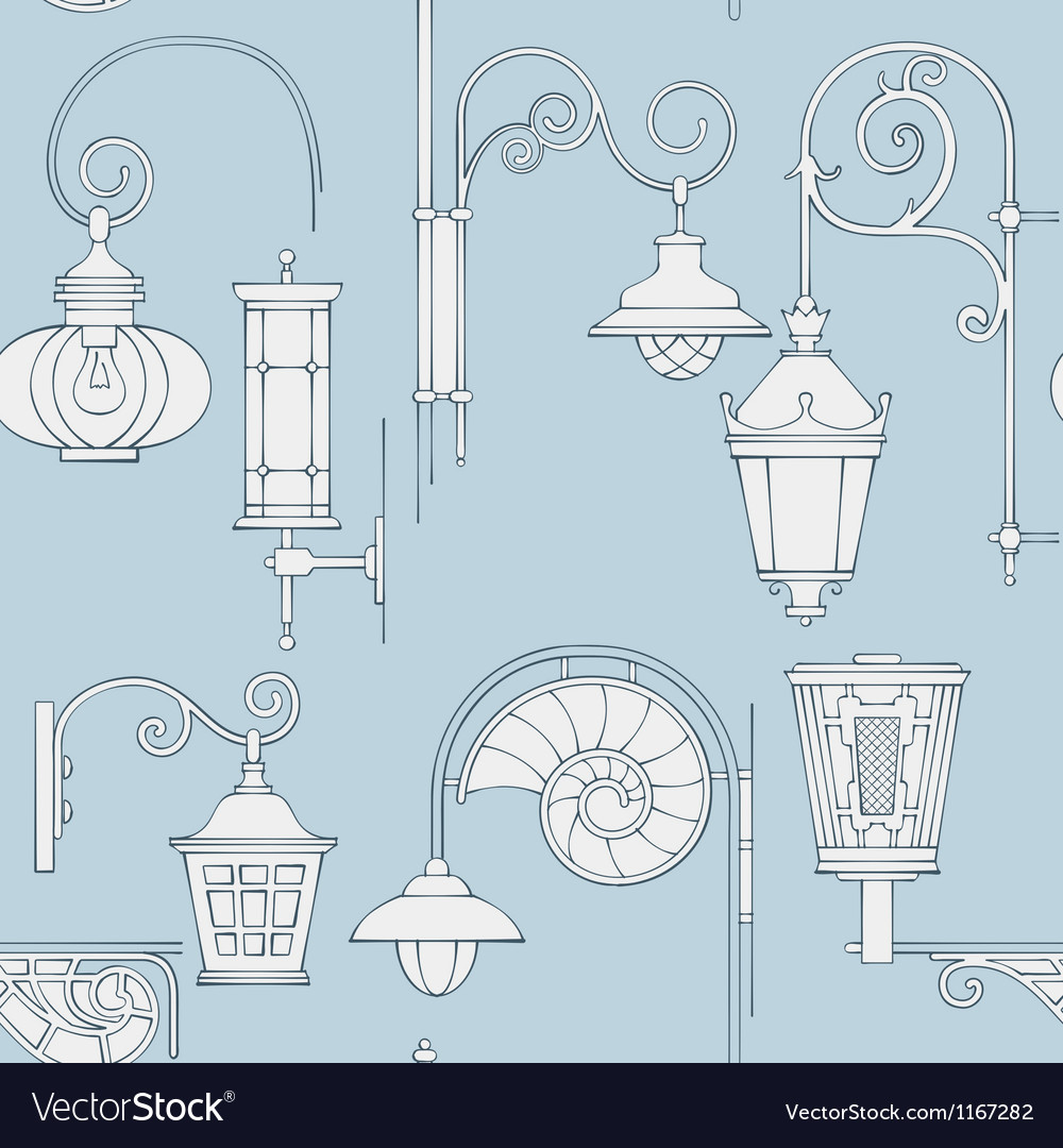 Street lantern seamless pattern vector | Price: 1 Credit (USD $1)