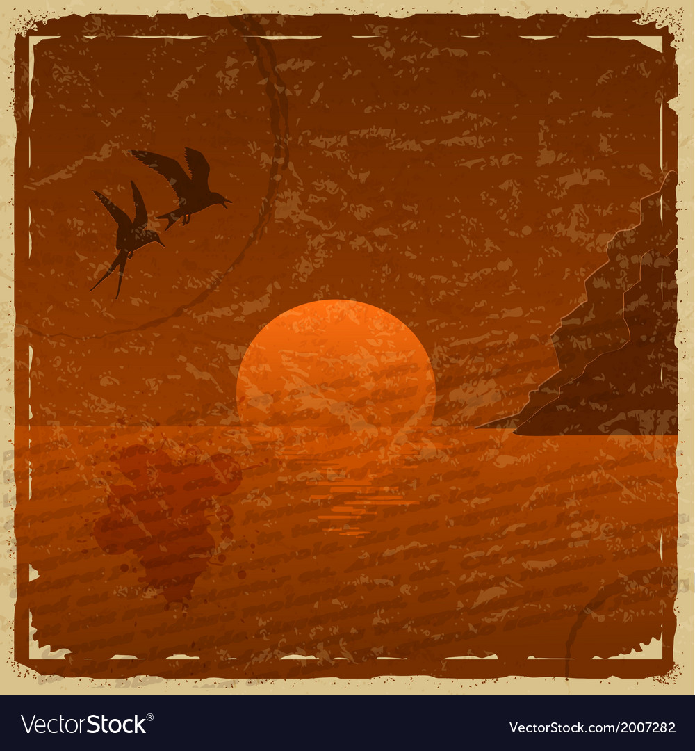 Vintage card with sunset and seagulls vector | Price: 1 Credit (USD $1)