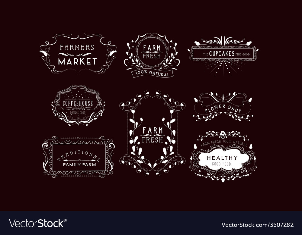 Vintage frames scroll elements and floral vector | Price: 1 Credit (USD $1)